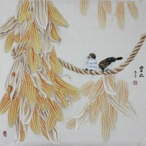 紫珊瑚画院一级美术师 鲁青 《丰收》 65*65cm
