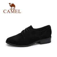 camel/骆驼女鞋 秋季新款 简约英伦风复古方跟圆头反绒休闲单鞋女潮