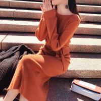 长款毛衣桔梗法式少女茶歇裙过膝气质复古初恋长裙秋冬针织连衣裙