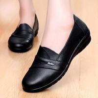 头层牛皮大码妈妈鞋软底中老年休闲防滑单鞋老北京皮鞋女工作鞋 黑色287