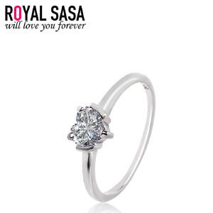 皇家莎莎仿真钻戒女s925银女仿水晶心形结婚戒指环日韩版简约饰品