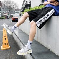 日韩风裤子夏款款男士休闲短裤气质侧边条纹印花运动休闲五分裤
