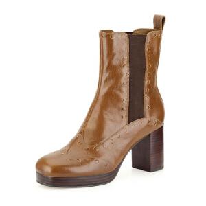 Clarks/其乐女鞋2017秋冬新时尚高跟雕花休闲短靴Orla Dixie专柜正品直邮
