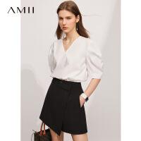 【2件3折133元,再叠90/70/30元礼券】Amii极简复古V领泡泡袖白色T恤女2021夏季新款宽松五分袖短袖上衣