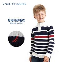 诺帝卡童装男童套头毛衣儿童条纹针织衫2017秋冬新款立领线衫
