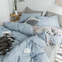 北欧风纯色水洗棉床上四件套纯棉棉简约床单被罩被套床笠三件套