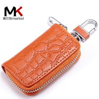 莫尔克(MERKEL)新款车用男女士钥匙包时尚大气鳄鱼纹情侣牛皮汽车锁匙包