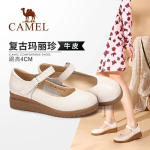 Camel/骆驼女鞋 2018春季新款 真皮浅口坡跟单鞋女中跟玛丽珍鞋