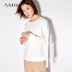 Amii极简欧货潮小清新纯棉圆领衬衫女2018秋新款时尚气质纯色上衣