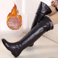 皮靴马靴高筒靴长靴女靴平跟秋冬新款过膝高筒保暖41大码骑士靴43