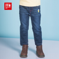 JJL KIDS/季季乐童装女童冬季新款舒适透气长裤加绒保暖牛仔裤