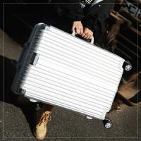 铝框拉杆箱万向轮行李箱男女旅行箱磨砂密码箱学生韩版皮箱包24寸 银色 不锈钢防刮包角款 铝框