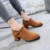 秋冬季新款单鞋粗跟高跟鞋子英伦风复古学生中跟磨砂加绒棉鞋女鞋