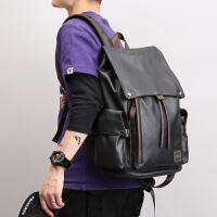真皮质青年男士双肩背包韩版时尚潮流大容量15.6寸电脑书包商务
