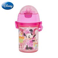 迪士尼正品夏季塑料杯 400ML按键背带便携水壶 儿童个性吸管杯