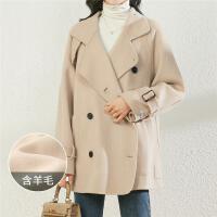 【3.7 超值����r363】【100%羊毛】毛呢大衣女�赓 ��s�p排扣保暖�p面呢大衣女