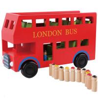 木制汽车模型大红双层伦敦巴士儿童早教认知益智车模型玩具新
