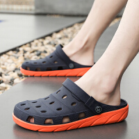 夏季洞洞鞋男士包头凉鞋韩版软底时尚拖鞋耐穿外穿凉拖情侣沙滩鞋夏季百搭鞋