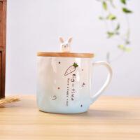 马克杯 卡通创意小兔子陶瓷杯2019新款日式萌兔早餐杯男女可爱喝水杯带盖子勺杯子
