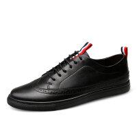 品牌布洛克风男鞋夏季雕花商务休闲皮鞋男潮全黑色英伦板鞋大码45码46 黑色