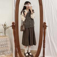 女神范套装裙秋冬新款韩版气质衬衫针织马甲长裙时尚三件套女
