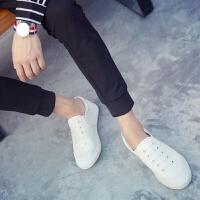 舒适好看!时尚新品白色帆布鞋男一脚蹬懒人小白鞋不系带韩版男鞋休闲鞋板鞋学生布鞋青春靓丽