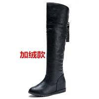 秋冬季新款皮靴女平底过膝长靴长筒女靴加绒高筒内增高大码单靴子
