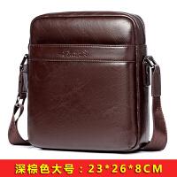 男士包包新款单肩斜挎包小斜跨休闲背包挂包 深棕色 深棕大号-