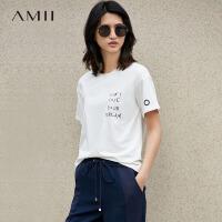 【五折再叠20元优惠券】Amii[极简主义]2018夏休闲字母印花T恤女短袖圆领