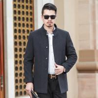 中长款毛呢大衣男 2018秋装新款小立领单排扣男士商务休闲外套男