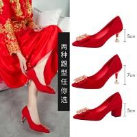 红色婚鞋新娘鞋水钻性感气质仙女风尖头绒面单鞋宴会5-7厘米四季 米色7厘米 标准码
