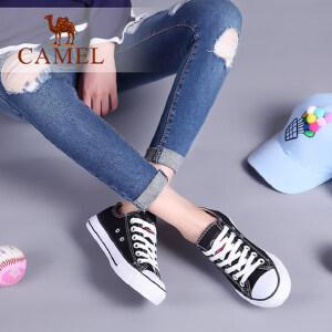 骆驼牌女鞋2017春季新款百搭情侣鞋帆布鞋女平底学生韩版时尚鞋子潮