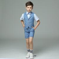 男童礼服儿童礼服男走秀套装秋格子男童演出服钢琴主持花童礼服男