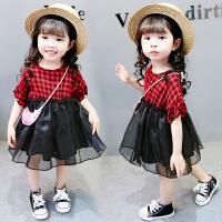 女童夏装裙子2018新款0-3岁女宝宝连衣裙韩版儿童公主裙夏季纱裙5 红色 格子玻璃纱裙