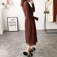 中长款蕾丝针织连衣裙女冬2017新款韩版时尚潮春装显瘦打底毛衣裙 酱色 均码品质