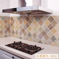 厨房壁纸防油贴纸耐高温灶台用防水防油烟机瓷砖墙贴台面自粘橱柜 砂黄菱形 3米长