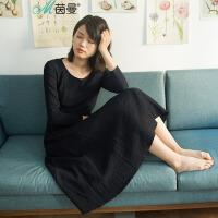 【5折价119.5】茵曼 2017新款圆领连衣裙长袖【1871101162】