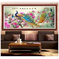 客厅背景钻石画国色天香孔雀图十字绣古典花开富贵新款满钻贴砖画