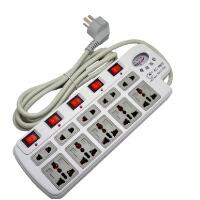 鑫超 电源插座10位独立开关2米插排插线板接线板带电压显示