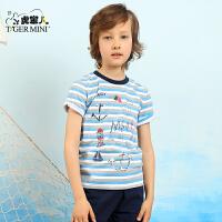 小虎宝儿中大童条纹短袖体恤儿童上衣T恤男童体恤夏季吸汗