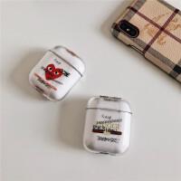 原创潮牌字母爱心airpods2保护套 苹果1代无线蓝牙耳机高透PC硬壳