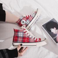 帆布鞋女学生2019春夏季新款格子休闲板鞋女韩版平底布鞋厚底百搭女鞋子潮 F2高红色(标准码)