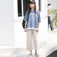 套装女学生韩版宽松夏季件印花T恤+原宿风休闲工装阔腿裤两件套 S 建议85-100斤