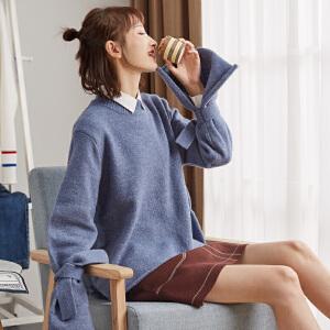 【2件3折价95.04元】唐狮秋新款圆领韩版宽松学生针织衫毛衣女文艺外穿上衣雾霾蓝