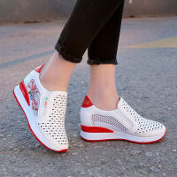 春夏镂空透气小白鞋女内增高厚底一脚蹬网面坡跟单鞋洞洞休闲女鞋