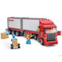 小鲁班积木玩具拼装jimu男孩6-7-8岁城市系列巴士货柜