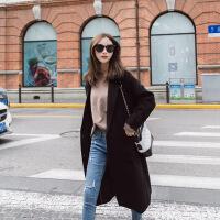 2018秋冬装韩版女装加厚毛呢外套女中长款流行呢子大衣气质显瘦潮 黑色款 S