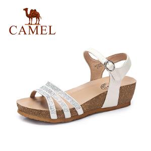 Camel/骆驼女鞋  春夏新款 时尚镶钻防水台坡跟一字扣百搭凉鞋