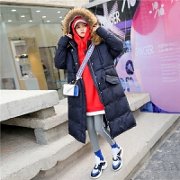 七格格女学生中长款女2018新款潮韩版宽松过膝百搭棉衣外套冬