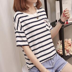 T恤女新款韩版学生百搭bf风刺绣口袋字母圆领显瘦上衣潮女